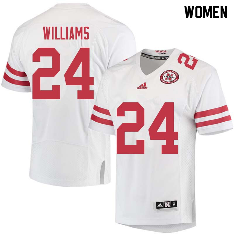 Women #24 Aaron Williams Nebraska Cornhuskers College Football Jerseys Sale-White