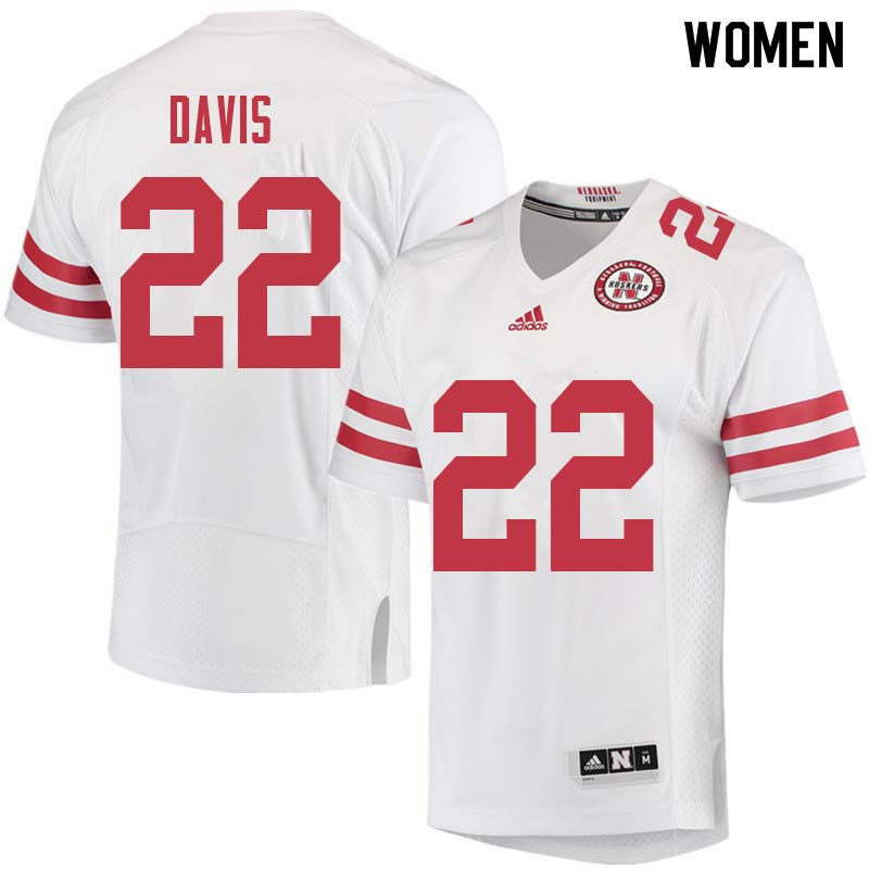 Women #22 Alex Davis Nebraska Cornhuskers College Football Jerseys Sale-White