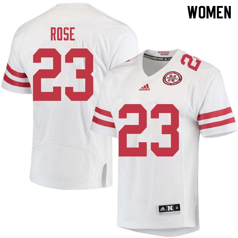 Women #23 Austin Rose Nebraska Cornhuskers College Football Jerseys Sale-White