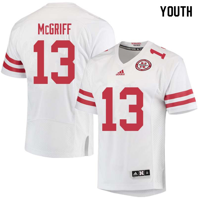 Youth #13 Justin McGriff Nebraska Cornhuskers College Football Jerseys Sale-White
